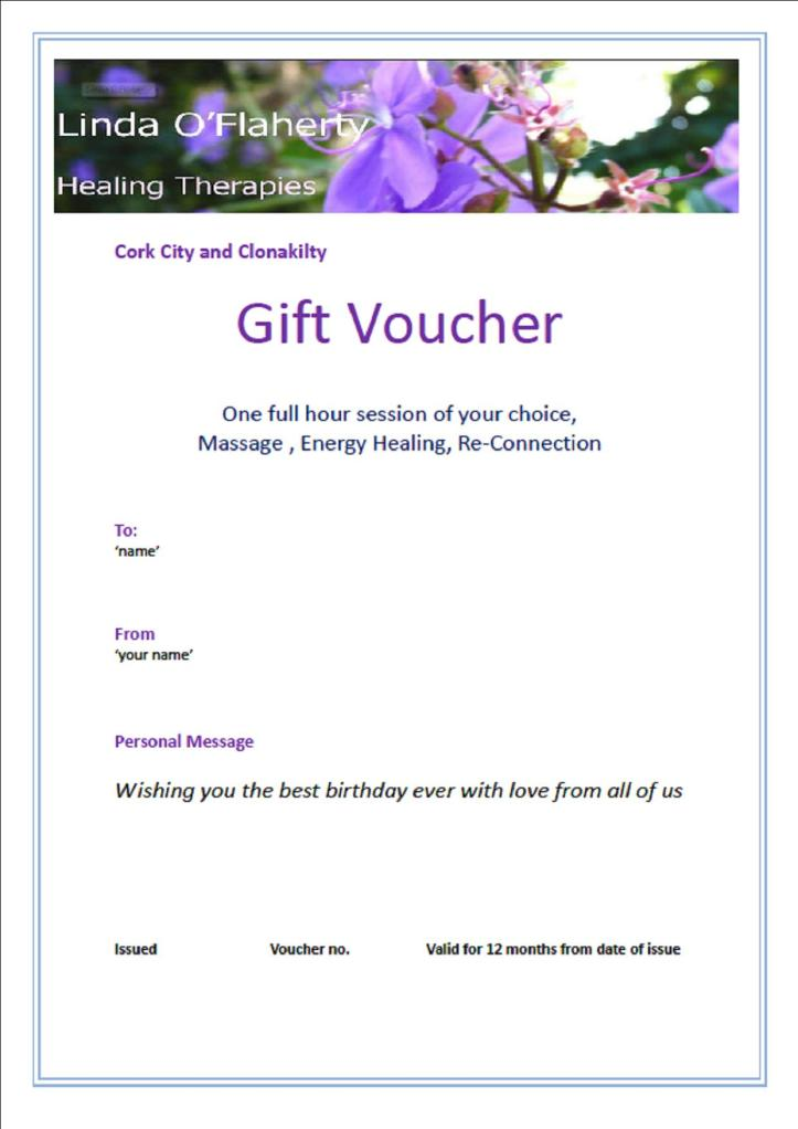 Vouchers/Offers – Linda O'Flaherty